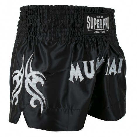 Super Pro Combat Gear Thaiboxing Short Fighter black/silver