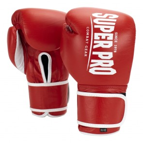 Super Pro Combat Gear Winner Wettkampfhandschuhe Klettverschluss red/white 10oz